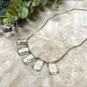 J. Crew Gold & Crystal Rectangle Statement Necklace